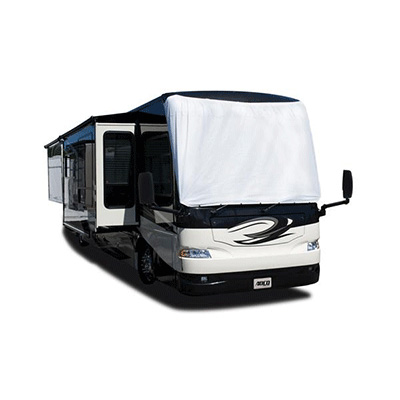 Motorhome Windshield Cover - ADCO Class A Exterior Motorhome Windshield Cover White