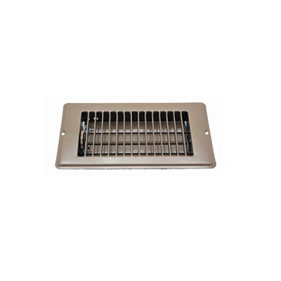 Floor Registers - Metal With Damper - 4 x 10 Inches - Brown