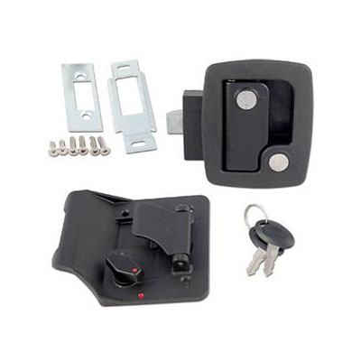 RV Door Latch - Bauer RV Entry Door Latch With Deadbolt, Backing Plate & Keys Black