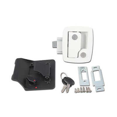 RV Door Latch - Bauer RV Entry Door Latch With Deadbolt, Backing Plate & Keys White