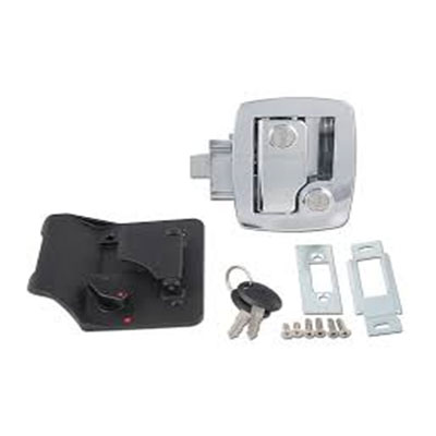 RV Door Latch - Bauer RV Entry Door Latch With Deadbolt, Backing Plate & Keys Chrome