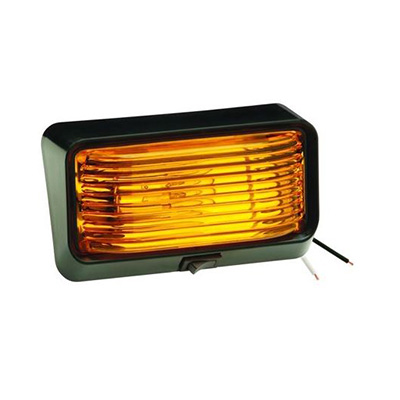 Porch Lights - Bargman RV Porch Light With Black Base/Amber Lens And On/Off Switch - 12V