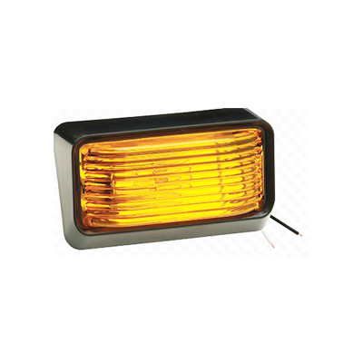 Porch Lights - Bargman RV Porch Light With Black Base/Amber Lens No Switch - 12V