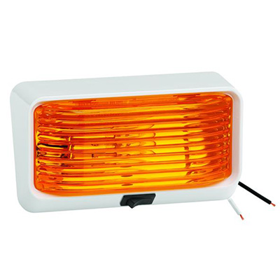 Porch Lights - Bargman RV Porch Light With White Base, Amber Lens & Switch 12V