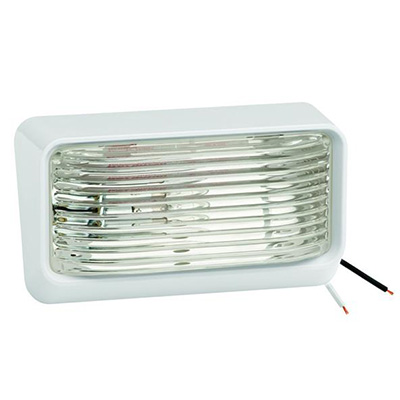 Porch Lights - Bargman RV Porch Light With White Base, Clear Lens No Switch 12V