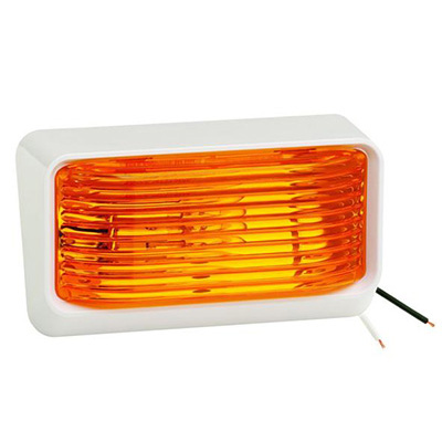 Porch Lights - Bargman RV Porch Light With White Base, Amber Lens No Switch 12V