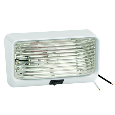 Porch Lights - Bargman Porch Light With White Base, Clear Lens & Switch 12V