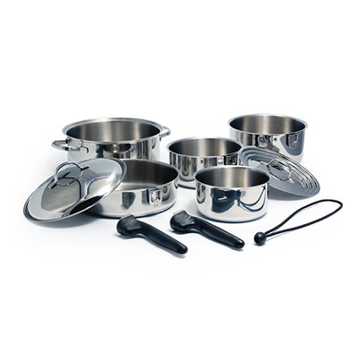 Pots And Pans - Camco 10-Piece Nesting Cookware Set Stainless Steel