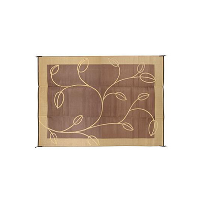 Camping Mats - Camco Leaf 6' x 9' Mat Brown & Tan