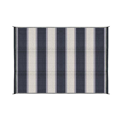 Camping Mats - Camco Stripe Outdoor Mat 6' x 9' Blue & White