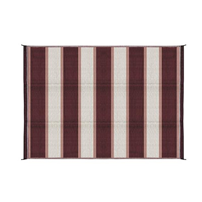 Camping Mats - Camco Stripe Outdoor Mat 6' x 9' Burgundy & White