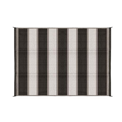 Mats - Camco Stripe 6' x 9' Outdoor Mat - Charcoal And White