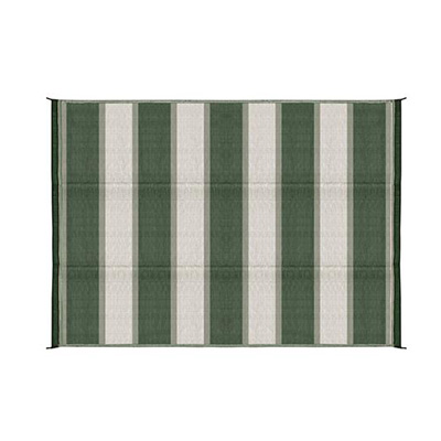 Camping Mats - Camco Stripe Mat 6' x 9' - Green And White