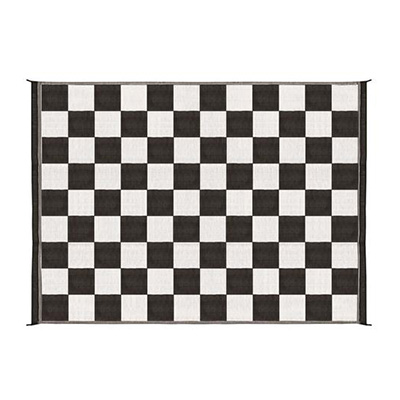 Mats - Camco Checkered 9' x 12' Outdoor Mat - Black And White