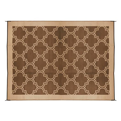 Camping Mats - Camco Lattice Outdoor Mat 9' x 12' Brown & Tan