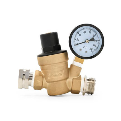 Water Pressure Regulator - Camco - With Gauge - Adjustable - Brass