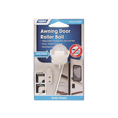 Awning Protector - Camco Awning Door Roller Ball With Screen Door Slider White