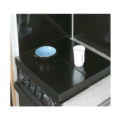 RV Range Covers - Camco Universal-Fit Folding Stove Top Cover Black