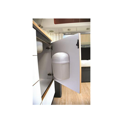 Trash Cans - Camco Wall Mount Trash Can With Swing Top Lid - White Colour