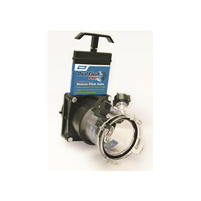Waste Tank Valves - Camco Dual Flush Pro RV Gate Valve With Clear Adapter