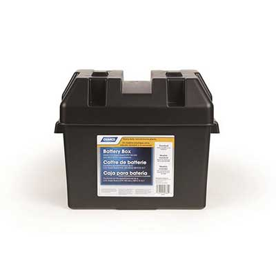 Battery Box - Camco Standard-Size Vented Battery Box With Lid, Strap & Mounting Hardware