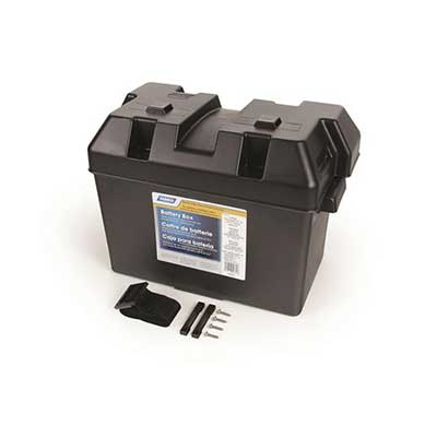 Battery Box - Camco Large Vented Battery Box With Lid, Strap & Mounting Hardware