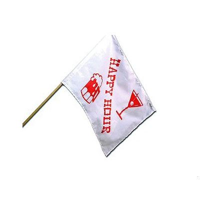 Flags - Camco Happy Hour Flag Polyester With Wood Post 12