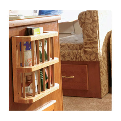 RV Magazine Rack - Camco - Oak Accents - Wood Finish