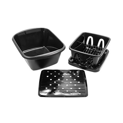 Dish Pan - Camco Sink Kit With Dish Pan, Drainer, Tray & Mat  Black
