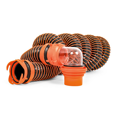Sewer Hose - RhinoEXTREME Sewer Hose Kit With Swivel Fittings & Adapters 15'L
