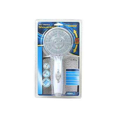 Shower Head - Camco - 5 Spray Settings - On/Off Switch - White