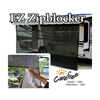 Awning Sun Block Panel - EZ ZipBlocker Awning Sun Block Panel 10'W x 9'H Black