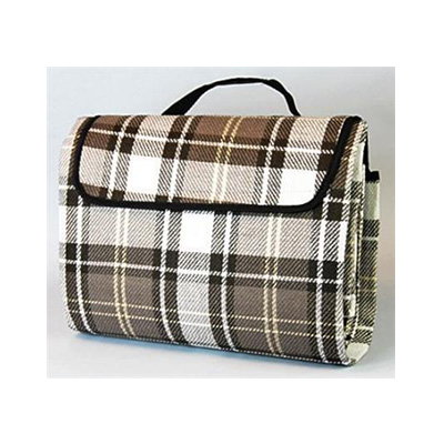 Picnic Blanket - Carefree PVC Coated 6.5' x 5.5' Waterproof Blanket - Brown Plaid
