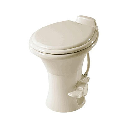 "RV Toilet - Dometic 310 Series Foot Pedal Flush Toilet 18"" With Hand Sprayer - Bone"