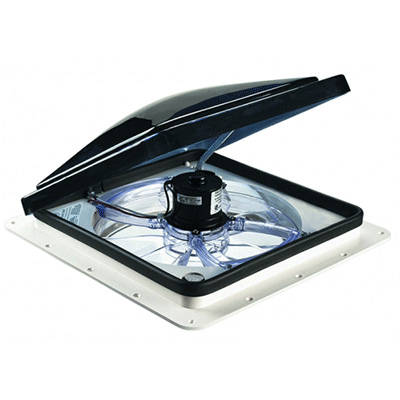 Roof Vent - Fan-Tastic 2250 Roof Vent With Intake, Exhaust And Thermostat - 12V - Smoke Lid