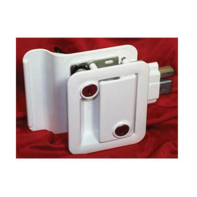 RV Door Latch - Fastec RV Entrance Door Latch With Deadbolt, Backing Plate & Keys White