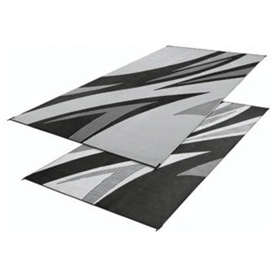 Camping Mats - Faulkner Summer Waves Patio Mat 8' x 16' Black & Grey