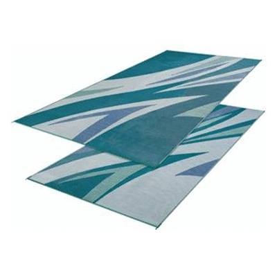 Camping Mats - Faulkner Waves Reversible Mat 8' x 16' - Green & Blue