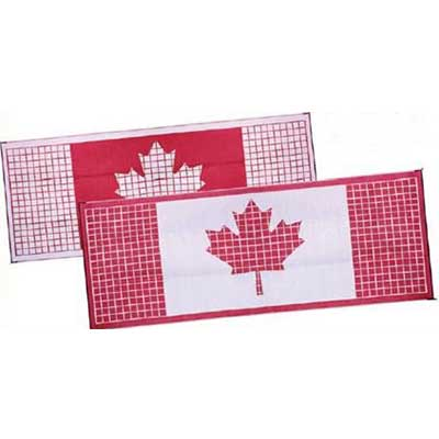 Camping Mats - Faulkner Canadian Flag Patio Mat 8' x 20' Red & White