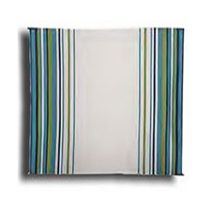 Camping Mats - Faulkner Striped Mat 9' x 12' - Aqua/Navy/Lime/White