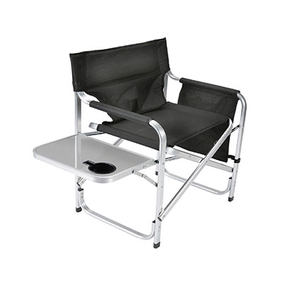 Camping Chairs - Faulkner Director-Style Folding Chair With Tray & Side Pouch Black