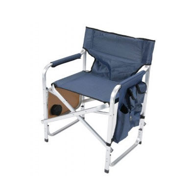 Camping Chairs - Faulkner Director-Style Folding Chair With Tray & Side Pouch Blue