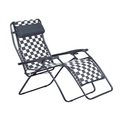 Camping Chairs - Faulkner Zero Gravity Recliner With Polycotton Fabric - Black & White