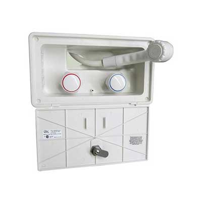 Exterior Shower - Lockable Door - White