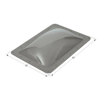RV Skylight Lens - Icon - Exterior - 14 x 22 x 4 Inches - Smoke