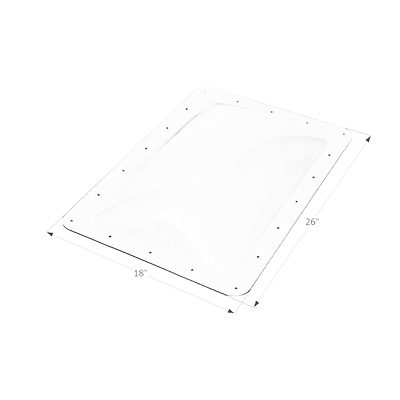 RV Skylight Lens - Icon - Exterior - 14 x 22 x 4 Inches - White