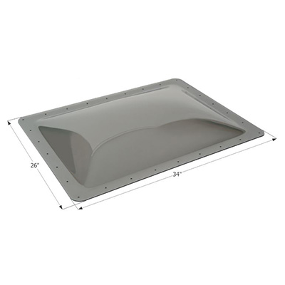 RV Skylight Lens - Icon - Exterior - 22 x 30 x 4 Inches - Smoke