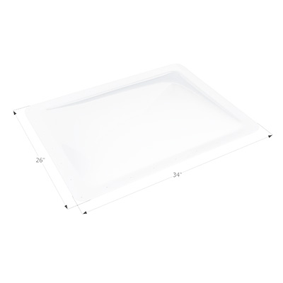 RV Skylight Lens - Icon - Exterior - 22 x 30 x 4 Inches - White