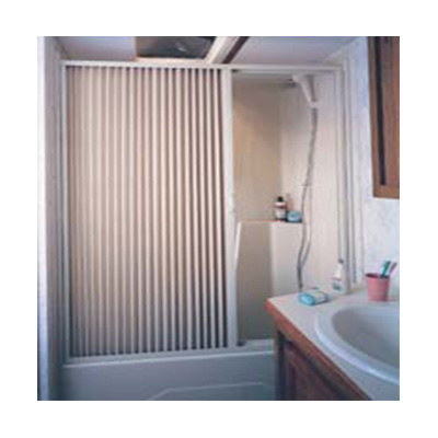 "Pleated Shower Door - Irvine Shade And Door - PVC - 60""W x 57""H - White"