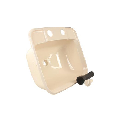 RV Bathroom Sink - JR Products - Plastic - Rectangular - Parchment